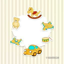 Stylish frame of toys with kiddish style on shiny seamless background.