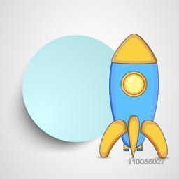 Stylish rocket of kiddish style with a blank frame for massage on shiny grey and white background.