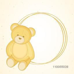 Illustration of cute bear with a circle blank frame on shiny light beige seamless background.