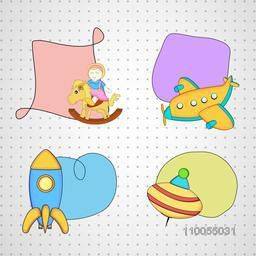 Illustration of four colourful toys attach with stylish frame on seamless background.