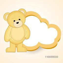 Cute bear stand with a cloud shape blank frame for your massage on light orange and silver shiny background.
