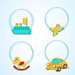 Illustration of four colourful toys hanging in circles on skyblue and white seamless background.