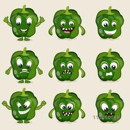 Nine different moods of green and healthy vegetable capsicum.
