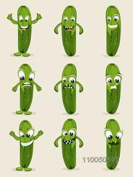 Nine different emotions of green and healthy vegetable cucumber.