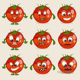Nine different facial expressions of red and healthy vegetable tomato.
