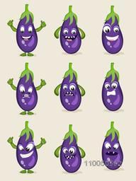 Healthy brinjal with nine different faces.