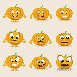 Nine different facial expressions of healthy vegetable pumpkin.