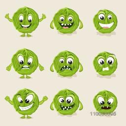 Nine different facial expressions of healthy and green vegetable cabbage.