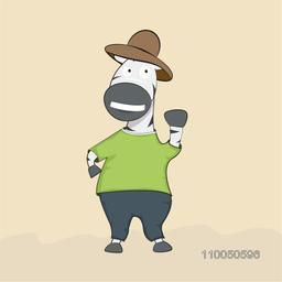 Wild animal zebra character wearing t-shirt, trouser and hat.