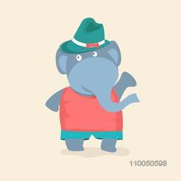 Character of a wild animal elephant wearing red and green clothes with a green hat.