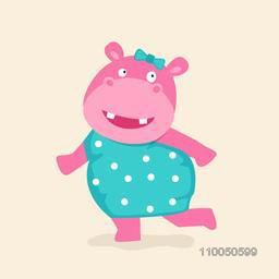 Stylish character dancing hippopotamus wearing green clothes with a clip on head in dancing mood.