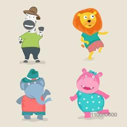Set of four dancing character zebra, lion; big elephant and hippopotamus in human dresses.