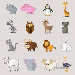 Set of sixteen stylish wild and pet animals with birds.