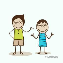 Two cartoon character wearing stylish clothes in happy mood.