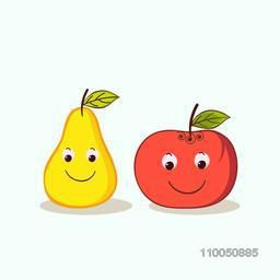 Character of smiling pear and apple with green leaf.