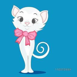 Character of a happy cat wearing a bow on its neck with a rounded tail.