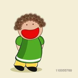 Character of a laughing small girl wearing green and yellow dress with curly brown hair.