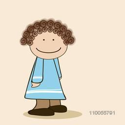 Character of a smiling girl wearing sky blue dress with curly brown hair.