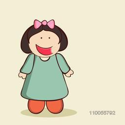 Character of a cute laughing girl wearing green dress with a pink bow on her head.