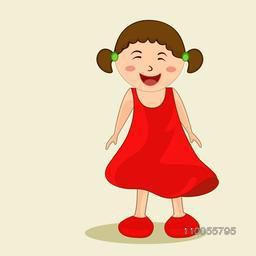 Character of a laughing girl wearing red dress and shoes with two plaits.