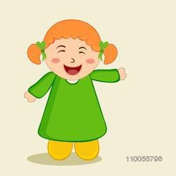 Character of a laughing and dancing girl wearing green and yellow clothes.