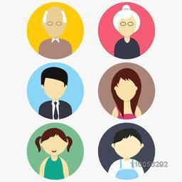 Family characters icon with old grandfather, grandmother, young father, mother, little daughter and son on white background.