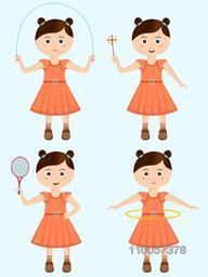Character of little girl playing different game in standing position on skyblue background.