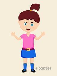 Standing position of a smiling little girl character extending his arms on beige background.