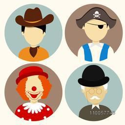 Set of four people character icons with young cowboy, pirate; clown and old man.