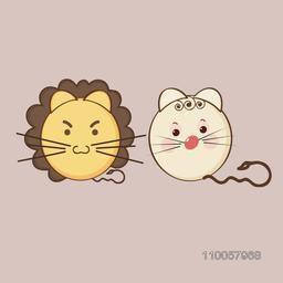 Character of  angry lioness and sad rabbit faces with small brown tail.