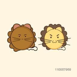 Character of two lioness with small tail in angry mood.