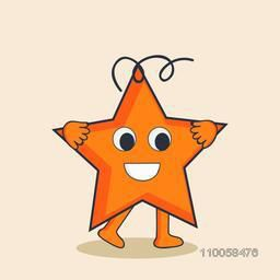 Character of a smiling star in bright orange colour.
