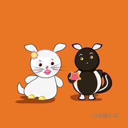 Character of a white rabbit and a squirrel playing together.