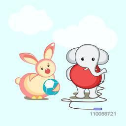 Character of an elephant holding a skipping rope and a rabbit playing with a ball.