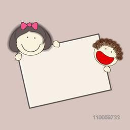 Character of two smiling faces with a frame and blank space for your message.