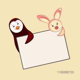 Character of penguin and a rabbit holding a card with blank space for your message.