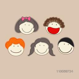 Set of five smiling and laughing faces with different boy and girl characters.