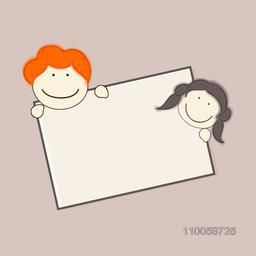 Smiling boy and girl face with a blank frame for message.