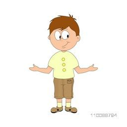 Cartoon character of cute little boy in stylish pose.