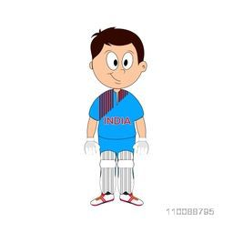 Cartoon character of a cute Boy in Cricket uniform representing India.