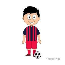 Cartoon character of cute happy boy in Soccer uniform.