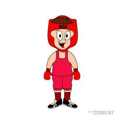 Cartoon character of a happy boy dressed up as a Boxer.