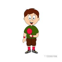 Cartoon character of cute happy boy holding table tennis or ping pong racket.