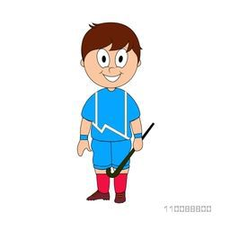 Cartoon character of Field Hockey Player holding stick.
