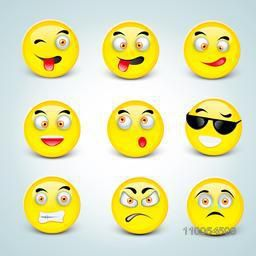 Set of funny smiley faces with different expressions on blue background.
