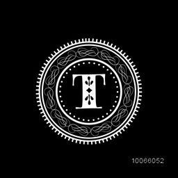 Stylish premium monogram design with English Alphabet T in beautiful floral rounded frame on black background.