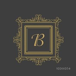 Premium monogram design with stylish English Alphabet B in square shaped floral pattern decorated frame on grey background.