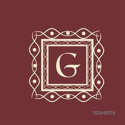 English Alphabet G in square shaped floral frame for premium monogram design.