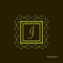 Stylish English Alphabet I in floral design decorated square shaped frame for premium monogram.