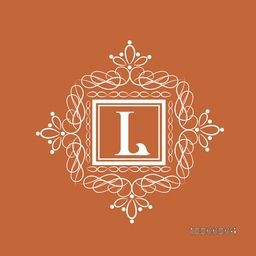 Stylish premium monogram design with English Alphabet L in beautiful square shaped frame decorated with floral pattern on brown background.